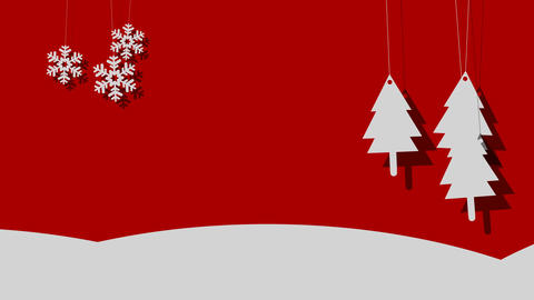 Snowy Vector Christmas Background of Trees and Snowflakes on a String Footage