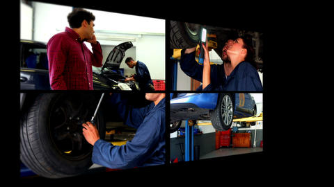 Collage of car mechanic Animation