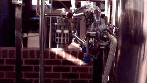 Panning shot of brewery interior Footage