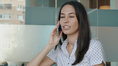 Attractive woman talking on the phone Footage