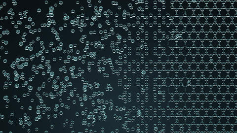 Creation of hexagonal molecular structure, loopable animation. Chaos and order Footage