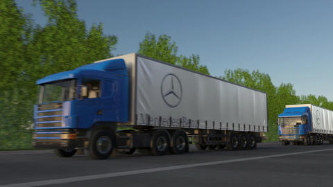 Freight semi trucks with Mercedes-Benz logo driving along forest road, seamless Footage