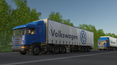 Freight semi trucks with Volkswagen logo driving along forest road, seamless Footage
