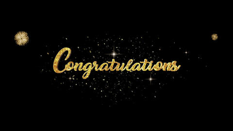 Congratulations golden greeting Text Appearance blinking particles fireworks Animation