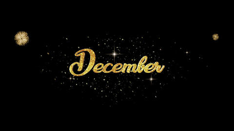 December Beautiful golden greeting Text Appearance blinking particles fireworks Animation
