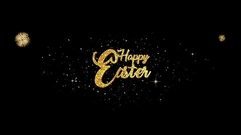 Happy Easter golden greeting Text Appearance from blinking particles fireworks Animation