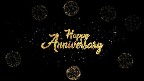 Happy Anniversary golden greeting Text Appearance blinking particles fireworks Animation