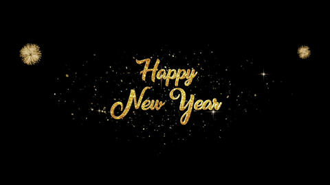 Happy New Year golden greeting Text Appearance from blinking particles fireworks Animation