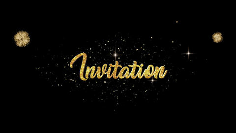 Invitation golden greeting Text Appearance from blinking particles fireworks Animation
