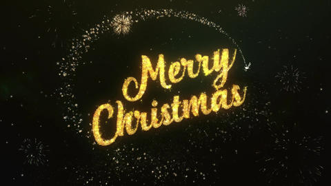 Merry Christmas Greeting Text Made from Sparklers Light Dark Night Sky With Animation