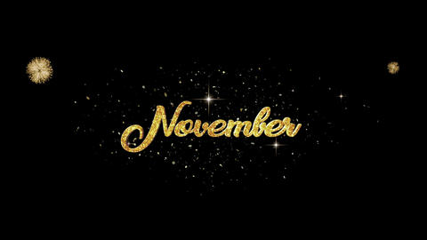 November golden greeting Text Appearance from blinking particles fireworks Animation