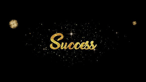 Success golden greeting Text Appearance from blinking particles fireworks Animation