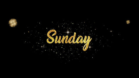 Sunday golden greeting Text Appearance from blinking particles fireworks Animation