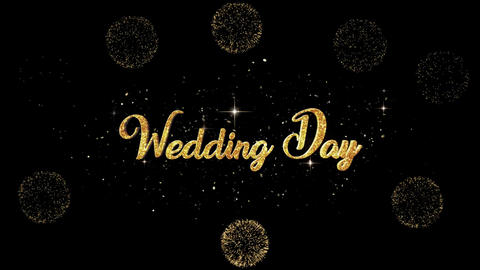 Wedding Day golden greeting Text Appearance from blinking…, Stock Animation