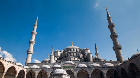 Pan timelapse of The Blue Mosque or Sultanahmet outdoors in Istanbul in Turkey Footage
