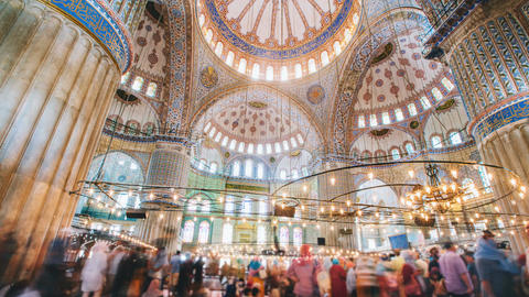 Timelapse of The Blue Mosque interior or Sultanahmet indoors in Istanbul city in Footage