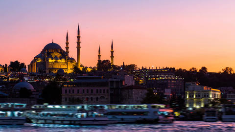 Timelapse view of Istanbul cityscape with Suleymaniye mosque with tourist ships Footage
