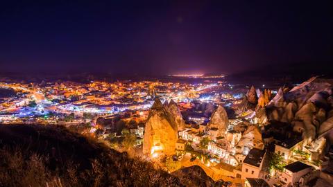 Timelapse view of Goreme village in Cappadocia at night in Turkey Footage