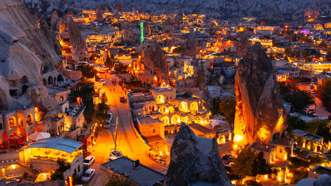 Pan Timelapse view of Goreme village in Cappadocia at night in Turkey Footage