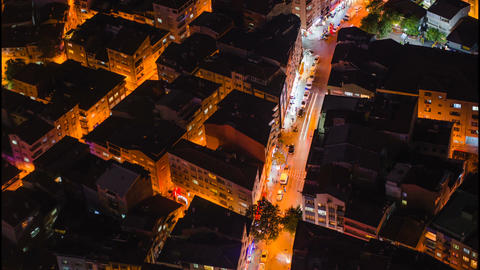 Timelapse rooftop view of Istanbul street with traffic at night Footage