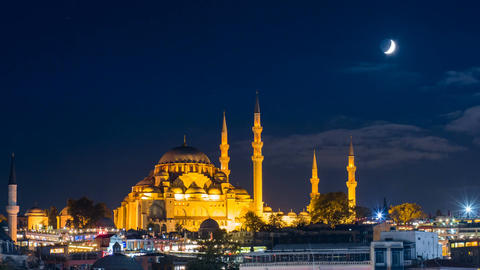 Pan timelapse of famous Suleymaniye mosque in Istanbul at night Footage