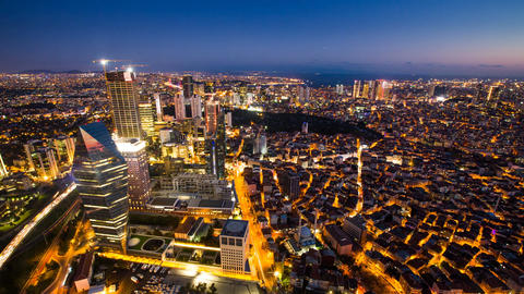 Timelapse rooftop view of Istanbul cityscape and Golden horn at night Footage