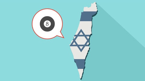 Animation of a long shadow Israel map with its flag and a comic balloon Animation