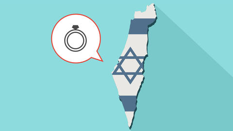 Animation of a long shadow Israel map with its flag and a comic balloon Bild