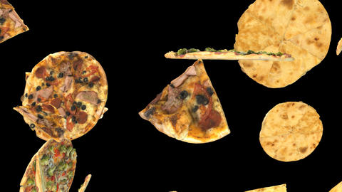 Background of flying pizza slices with an alpha channel CG動画素材