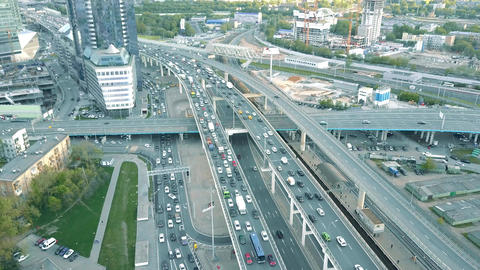 MOSCOW, RUSSIA - MAY, 22, 2017. Aerial shot of heavy traffic jam on the car road Footage