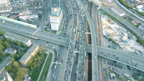 MOSCOW, RUSSIA - MAY, 22, 2017. Aerial shot of heavy traffic jam on the highway Footage