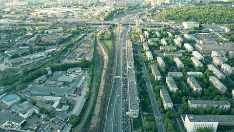 Moscow view and heavy traffic jam in the rush hour Footage
