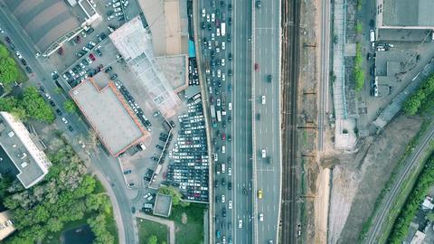 Heavy traffic jam on a car road Footage