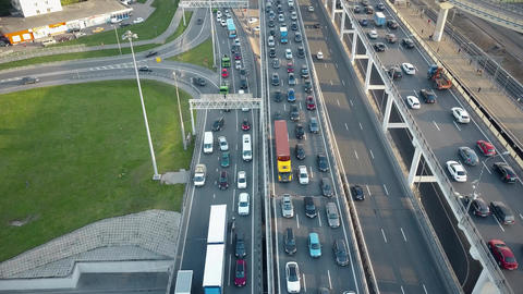 MOSCOW, RUSSIA - MAY, 22, 2017. Aerial time lapse. Traffic jams on the car roads Footage