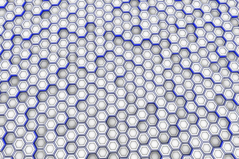 White hexagons with blue glowing sides Fotografía