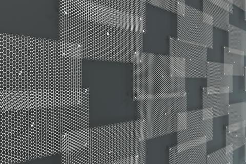 White circular grates on dark grey background Fotografía