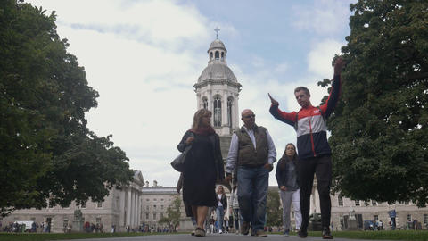 People walking at Trinity College, Dublin Footage