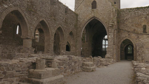 Ruins of Jerpoint cistercian abbey in Ireland Footage