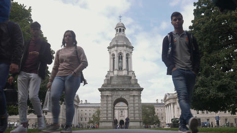 Students walking at Trinity College, Dublin Footage