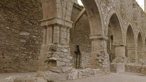Panorama of Ruins of Jerpoint cistercian abbey in Ireland Footage