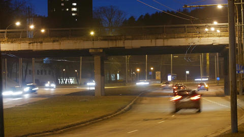 Time lapse, the light trails of city traffic on the building background Live Action