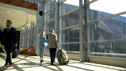 Two seniors walking with suitcase Footage