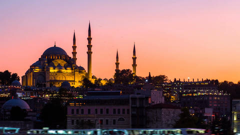 Zoom out Timelapse view of Suleymaniye mosque with tourist ships floating at Footage
