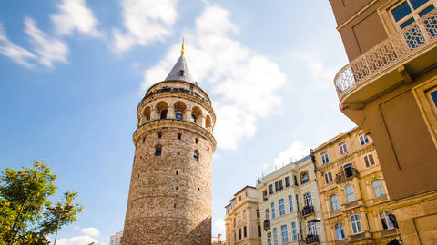 Zoom out Timelapse of famous tourist place Galata tower in Istanbul in Turkey Live Action