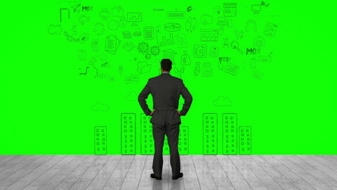 Businessman looking at green interface Animation