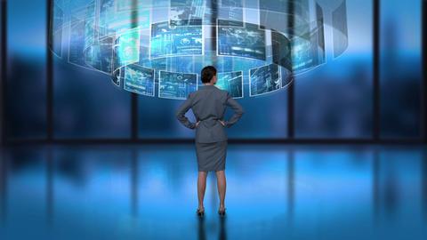 Businesswoman processing revolving interface Animation
