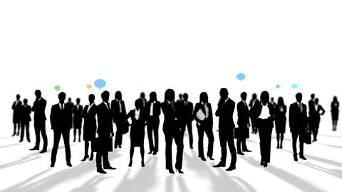 Black silhouettes of business people Animation