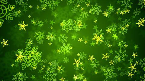 Green Christmas Snow Flakes Animation