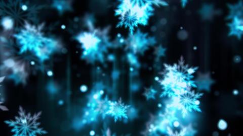Bluish Glassy Snowflakes Animation