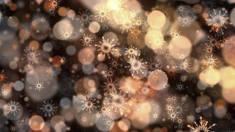 Warm Bokeh Snowflakes Stock Video Footage